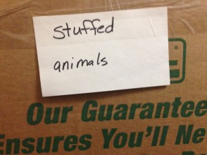 "Moving Box Labeled ""Stuffed Animals"""