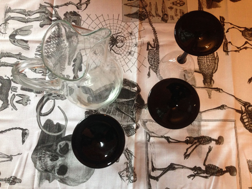 Water Pitcher & Wine Glasses, on All Hallow's Table Cloth