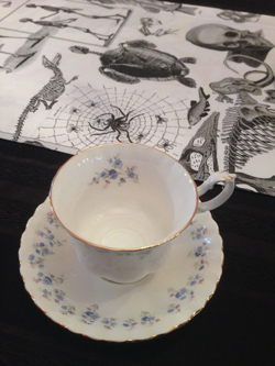 Forget-Me-Not Tea Cup with All Hallow's Table Runner
