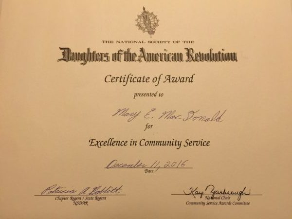 Daughters of the American Revolution Award